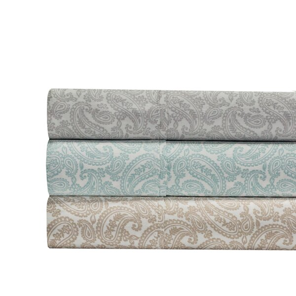 Agueda Paisley Print 300 Thread Count 100% Cotton 4 Piece Sheet Set by The Twillery Co.